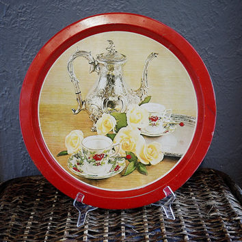 Vintage Red Round Tin Tray with Yellow Roses and  Tea Set Print  - Made in Hong Kong