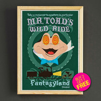 Vintage Disneyland Attraction Poster Fantasyland Mr.Toad's Wild Ride Print Home Wall Decor Gift Linen Print - Buy 2 Get 1 FREE - 378s2g