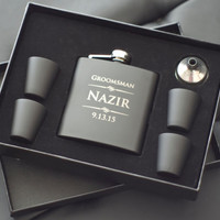 9 Personalized Groomsmen Gifts - NINE Custom Engraved Black Flasks Gift Sets