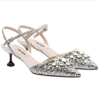 One-nice™ The crystal sequins pointed-toe Wedding shoes pointed high-heels sandals sliver