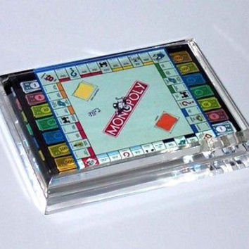 Monopoly Board and Money Acrylic Executive Desk Top Paperweight