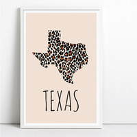 Texas Map Print Chevron Home Decor Shabby Chic decor Leopard Print Art Animal Print Wall Art Travel Poster Fashion Print Hand drawn pattern