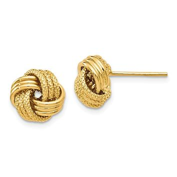 9.5mm (3/8 Inch) 14k Yellow Gold Polished Textured Love Knot Earrings