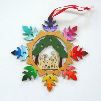 Hand Painted Rainbow Ombre Nativity Snowflake Ornament