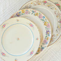 Shabby Cottage Style Mismatched Plates, Set of 4, Tea Party for 4, Wedding, Cottage Chic, Vintage, Replacement China