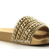 YELLOW GOLD CHAIN SLIDES