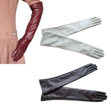 Quality Guarantee Women Ladies Opera Evening Party Gloves Faux Leather PU Over Elbow Long Glove Hot 7 Colors