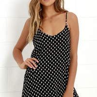Nice and Easy Ivory and Black Print Shift Dress