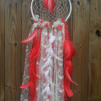 Lace Dream Catcher Bright Coral or Salmon Color Cottage Chic Home Decor Wedding Decoration Baby Mobile Feathers