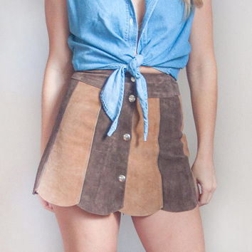 RARE 70s Brown Suede Mini Skirt Small XS | Womens High Waist Size 24 1970s Tan Scalloped Hippie Gogo Light Brown Leather Button Down Skirt