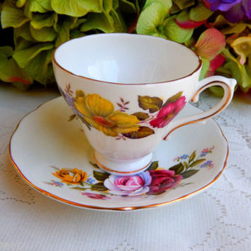 Vintage Royal Sutherland Bone China ~ Porcelain Cup & Saucer ~ Floral ~ Gold