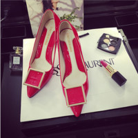 Women Shallow Mouth Pu Lacquer Leather Square Buckle Pointed Shoe Head Heels Shoes Single Shoes