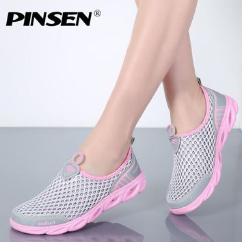 PINSEN 2018 Summer Casual Shoes Woman Slip-On Platform Flats Female Breathable Zapatillas Slipony Women Shoes Zapatillas Mujer