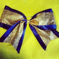 Sparkly gold and navy blue 3 inch spirit competition by 2girls2Tus