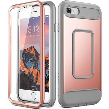 DCK4S2 iPhone 8 Case, iPhone 7 Case, YOUMAKER Full Body Heavy Duty Protection Shockproof Slim Fit Case Cover for New Apple iPhone 8 4.7 inch (2017) / iPhone 7 with Built-in Screen Protector (Rose Gold/Gray)