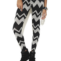 Large Chevron Print Legging  | Shop Bottoms at Wet Seal