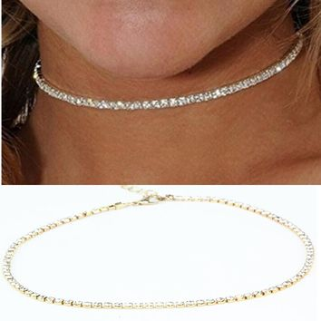 x186 Europe and United 1 Units States Women's Thin Metal Choker Necklaces Shining Gold-color Chain Necklaces Wholesale Hot Sale