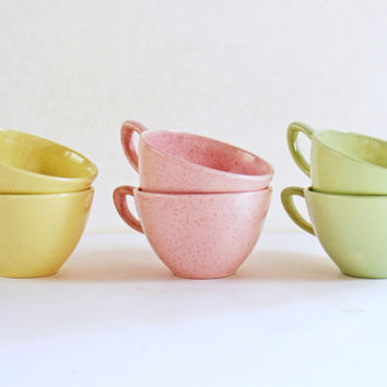 Pastel Coffee Cups, Vintage California Pottery Serving, Mid Century Retro Kitchen,  Speckled Tea Cups