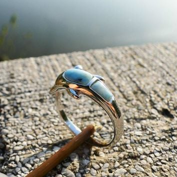DJ CH Dolphin Fish Animal Friendship Ring, 925 Sterling Silver Ring Band Inlay Larimar Gemstone, Ocean Sea Life Jewelry Rings