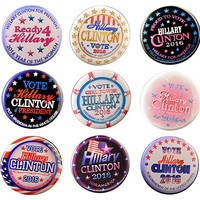 Pack-9 Hillary Clinton Variety Super Pack Pin-back Buttons, 2.25""