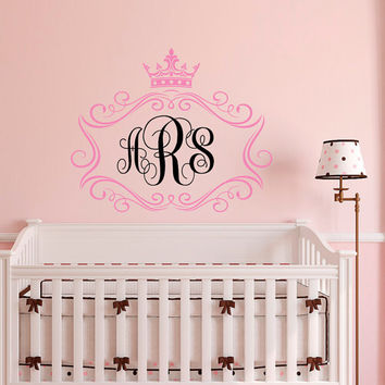 Monogram Nursery Wall Decal Personalized Initials - Girl Name Wall Decal Monogram Sticker Nursery Girls Bedroom Wall Art Home Decor M071