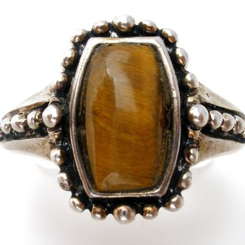 Tiger's Eye Sterling Silver Ring Size 6.5 Vintage