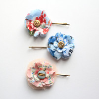 Shabby Chic Floral Fabric Bobby Pins- Set of 3.