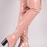 Patent Lace Up Chunky Heeled Over-The-Knee Boots