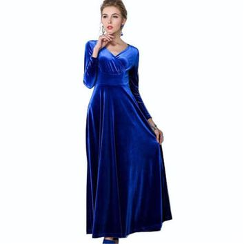 DCCKWQA Elegant Autumn Winter Overlapped CF Gathering  Wedding Evening Party Prom Long Dress Maxi Swing Wiggle A Line Dress Y730