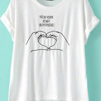 New York is My Boyfriend White Short Sleeve Hand Embroidered Shirt