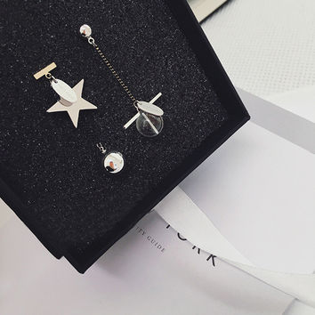 Scales Earrings Stylish Geometric Korean Vintage Strong Character Crystal Ball [10399366484]