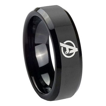 10mm Avengers Beveled Edges Black Tungsten Carbide Mens Anniversary Ring
