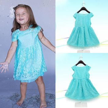 Blue Kids Baby Girls Dress Princess Lace Flower One-pieces Gown Dresses 2~7Y