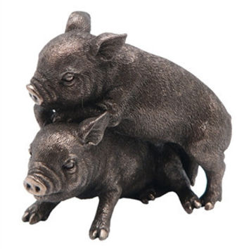 Two Mini Pigs Playing Together Statue - 8386