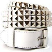 ROCKWORLDEAST - Studded Belts, 3 Row Silver Studded Belt, White Leather