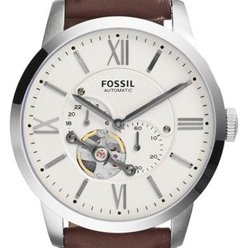 Men's Fossil 'Townsman' Automatic Leather Strap Watch, 44mm
