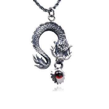Large Ruby Silver Dragon Necklace Men's Fashion Jewelry (PENDANT ONLY)