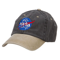 NASA Insignia Embroidered Washed Two Tone Cap - Black Khaki OSFM