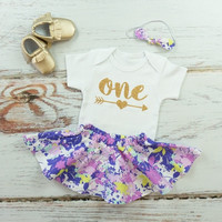 Purple 1st Birthday Outfit | Girls Purple Flowers Birthday Skirt Outfit | Twirl Skirt with Gold One with Arrow