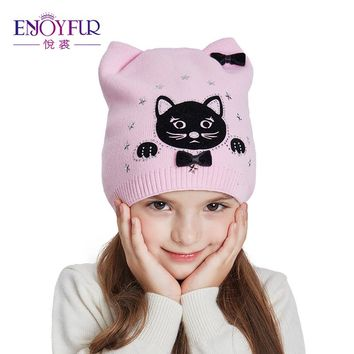 ENJOYFUR Cotton Knitted Hat Girl Cute Cartoon Cat Winter Hats For Girls Warm Thick Caps Children Beanies Autumn Kids Ears Hat