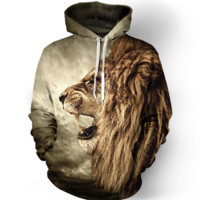 3D Lion Pattern Womens Sweatshirt Hoodies