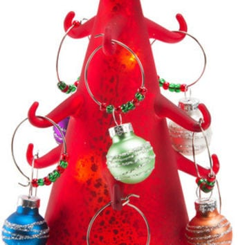 Red Glow - LED Lit Art Glass Tree Wine Charm Holder with 9 Wine Glass Charms