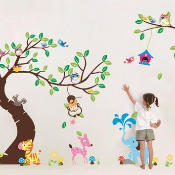 high class large monkey tree wall stickers decals cartoon jungle animals wallpaper mural kids home bedroom nursery decoration