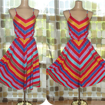 Vintage 70s Dress | 1970s Sundress | Chevron Stripe | Full Sweep | 80s Dress | Rainbow Disco Boho | Size Small