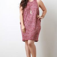 Plus Size Side Cutout Marled Knit Dress