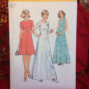 Fancy Mod Two-Length Dress Pattern Simplicity 6094 Cut and Complete- Vintage 1970's