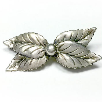 Vintage Denmark Sterling Signed Silver Pin Brooch Scarf or Cloak Pin Danish Scandinavian Silver Collectible Wearable Leaves Nice Detail