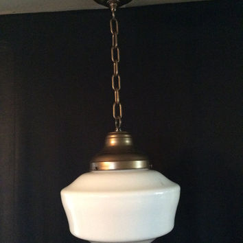 Vintage Milk Glass Pendant School House Light Large Globe 1940s