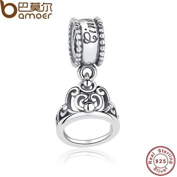 Sterling Silver 925 Cinderella Crown Charms Fit Bracelet & Necklace Jewelry Accessories PAS207
