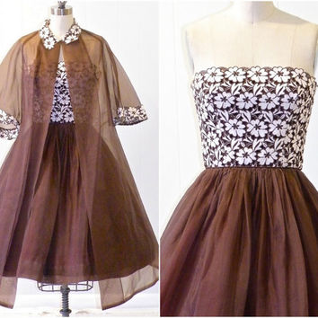 1960s Party Dress & Duster, 60s Organza and Lace Strapless Cocktail Dress, Mad Men